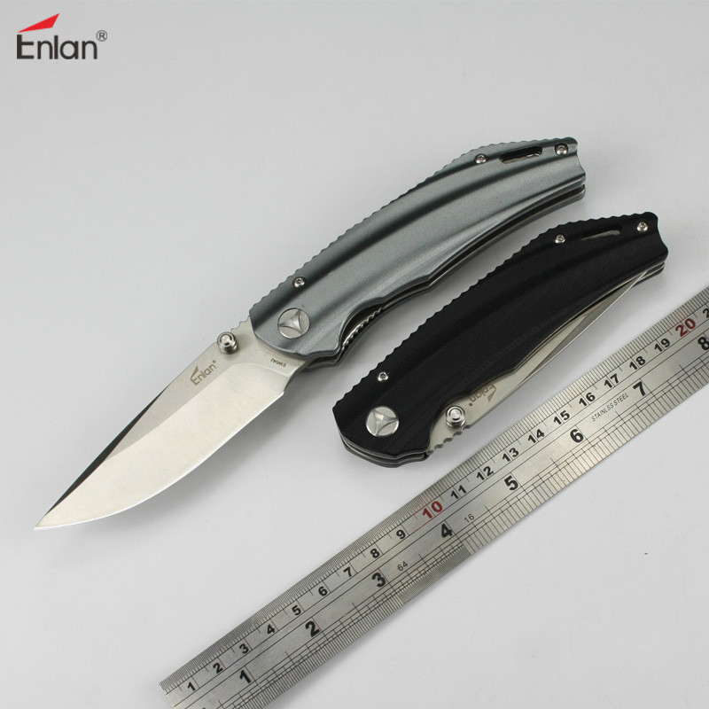 Enlan EW042 Folding Knife 8Cr13Mov Blade Aluminum Handle Outdoor Survival Camping Po ket Knife 21cm enlan l05 1 folding knife with liner lock