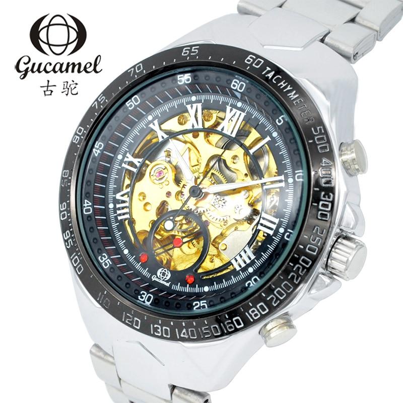 GUCAMEL Brand Men 's watches automatic mechanical watch business luminous hollow men' s table waterproof steel belt 2017 цена и фото
