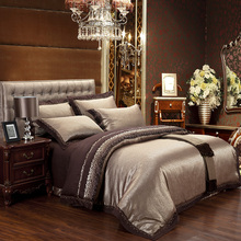 New bedding set jacquard Satin Silk 100% cotton bed sheet set Home Textile duvet cover bedclothes bedspread discount