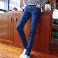 Mens Lápis Elástica Calças Compridas Slim Fit Outono Estilo Coreano Adolescentes Denim Jeans Calças Pés Cowboy Moda Cintura Baixa K08