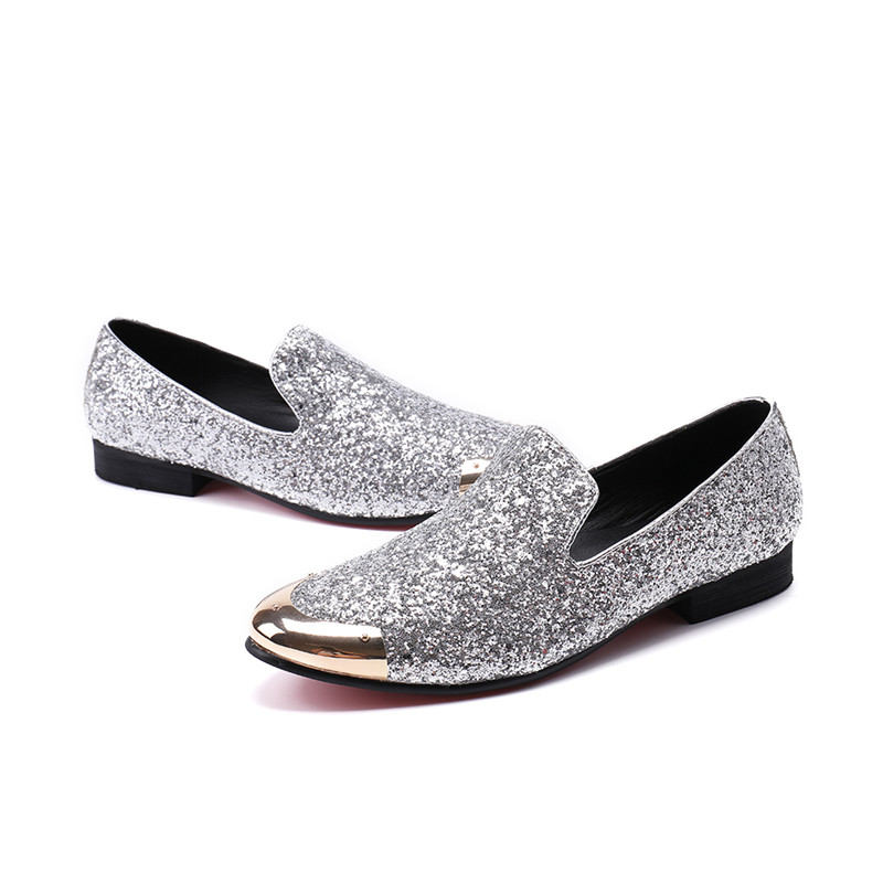 Mabaiwan 2018 Fashion Silver Glistening Glitter Men Loafers Sequins  Slippers Casual Shoes Mens Wedding Dress Shoes Party Flats-in Men s Casual  Shoes from ... 4952c14c8cea