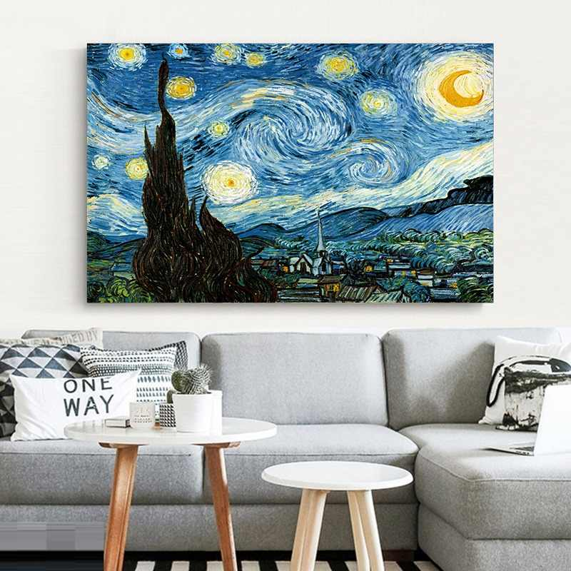Elegant Poetry Starry Night by Vincent Van Gogh Famous Artist Art Print Poster Wall Picture Canvas Oil Painting Home Wall Decor