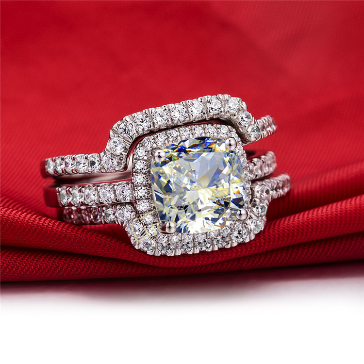 HOT  Luxury New Bridal Set Wedding Rings Sets 3 Carat D-H Cushion Princess Cut Best Quality NSCD Synthetic  Gem 3PC ring sets