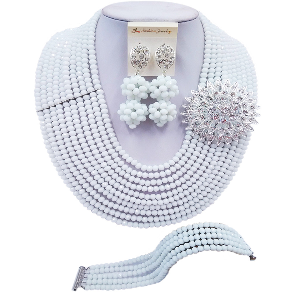 ACZUV White African Wedding Beads Jewelry Set Bridal Party Jewelry Sets 10C-DS003(China)