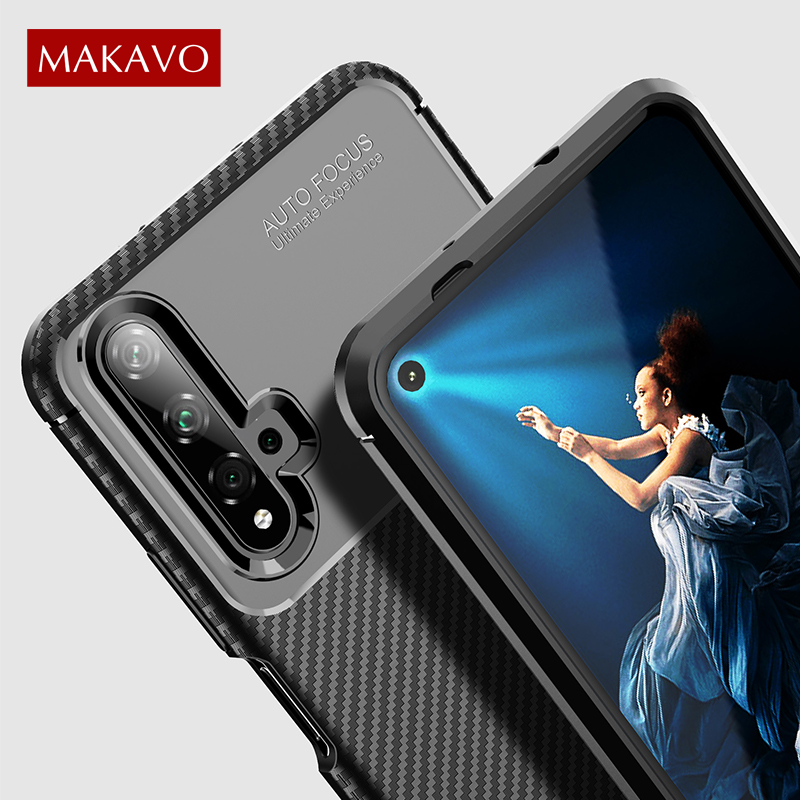 Pour Huawei Honor 20 étui en Fiber de carbone Protection complète en silicone souple TPU étui arrière pour Honor 20 Pro Honor 20 Lite étui