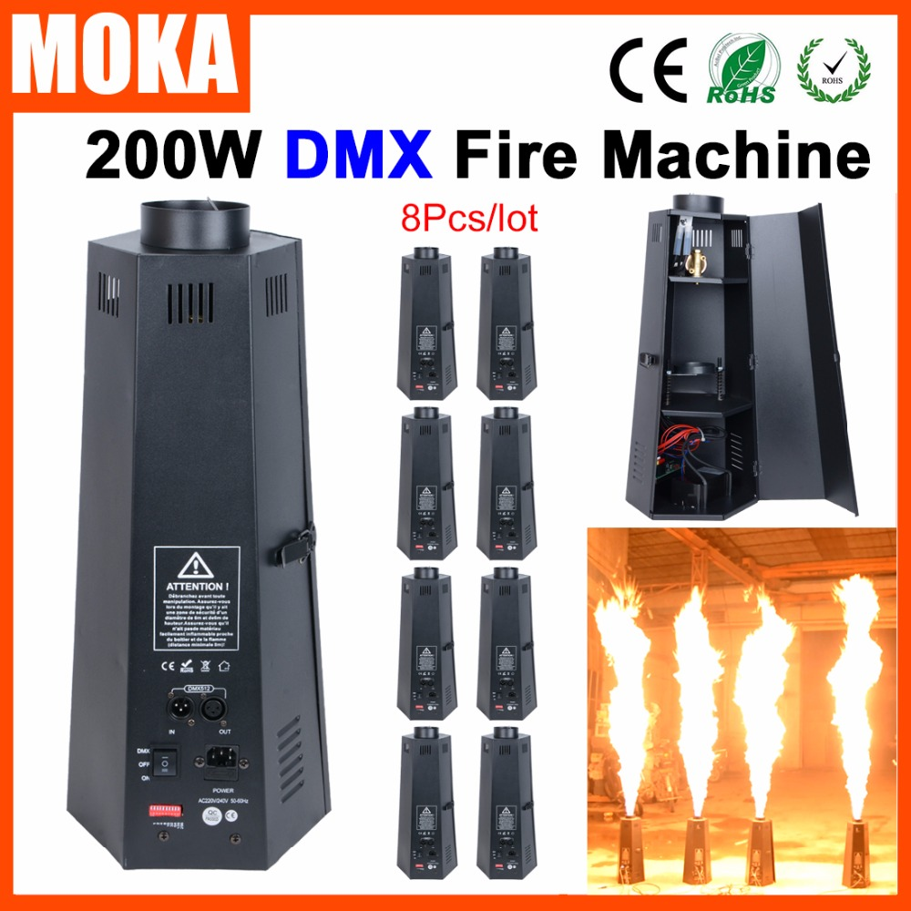 цена на 6Pcs/Lot Amazing effect 200W DMX fire Flame Projector Stage Effect Fire Machine Stage fx Equipment