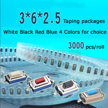 Wholesale 50ma 12V DC 3*6*2.5mm SMD Tact Switch taping touch switch  Button 2pin micro switch SMD package Tactile switch