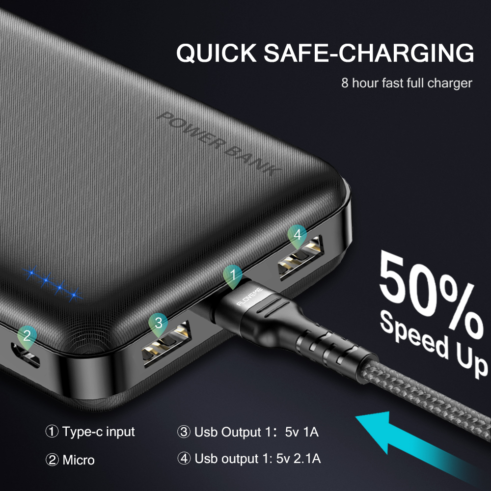 FLOVEME Portable Power Bank With 20000mAh External Battery For iPhone 2