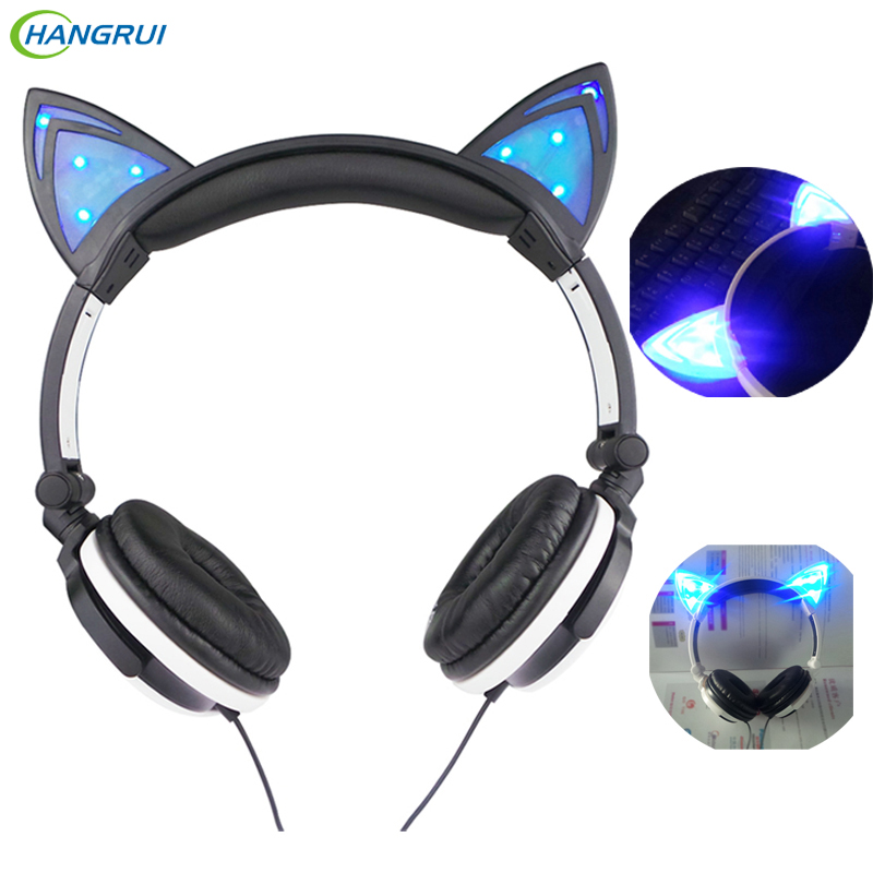 HANGRUI Flashing Glowing Cat Ear Headphones Cute Gaming Headset Headphone with led light for Mobile Phone Laptop PC Computer MP3
