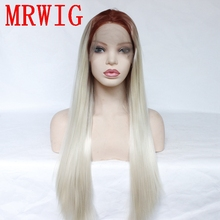 MRWIG 18in&26in Real Hair Looking  Black Ombre Blue Long Straight Synthetic Gleuless Front Lace Wig Free Part free shipping 130cm super long straight light blue black butler wig undarteker
