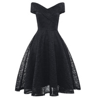 Women Black Red Sexy Off Shoulder Summer Dress 2019 V Neck A Line Special Occasion Swing Vintage Retro Lace Cocktail Party Dress