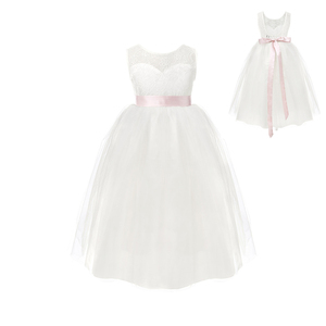 Image 2 - 2020 White First Communion Flower Girls Dresses Little Girls Real Party Dress for Wedding Kids Evening Party Pyrotechnics Gowns