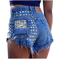 2016 Marca de Moda das Mulheres Do Vintage Borla Rebite Rasgado Soltas Short Jeans de Cintura Alta Do Punk Sexy Hot Shorts Jeans Mulher