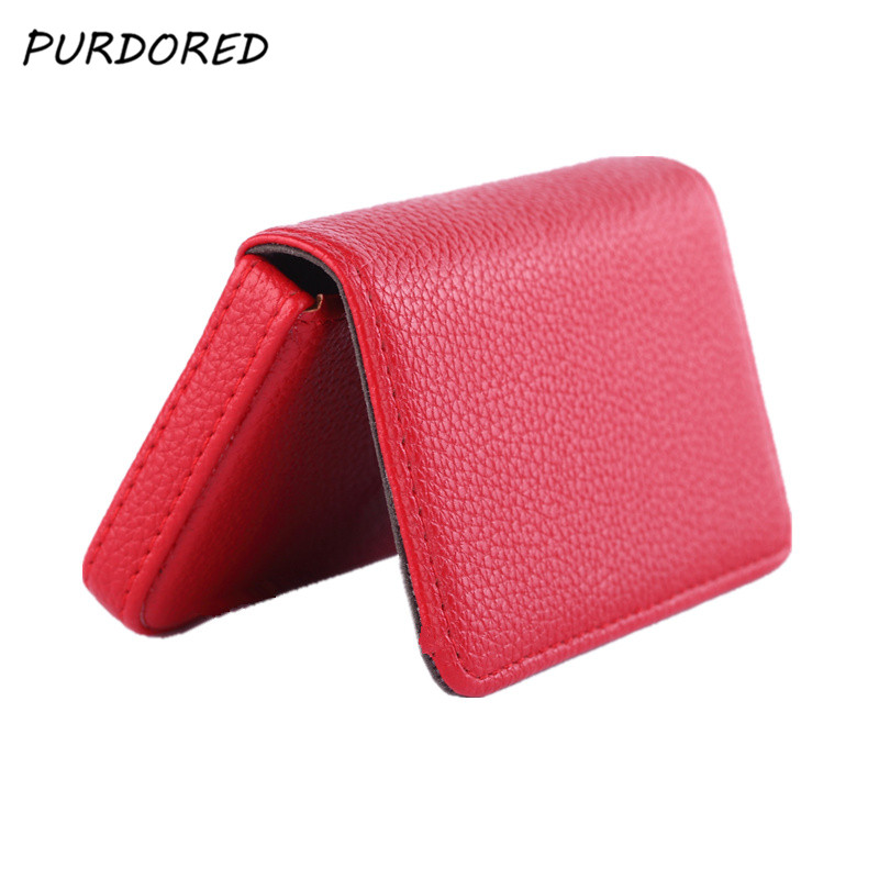 PURDORED 1 Pc Women Card Holder Solid PU Leather Card Case Mini Women Wallet Credit Card Holder Travel Card Bag Dropshipping
