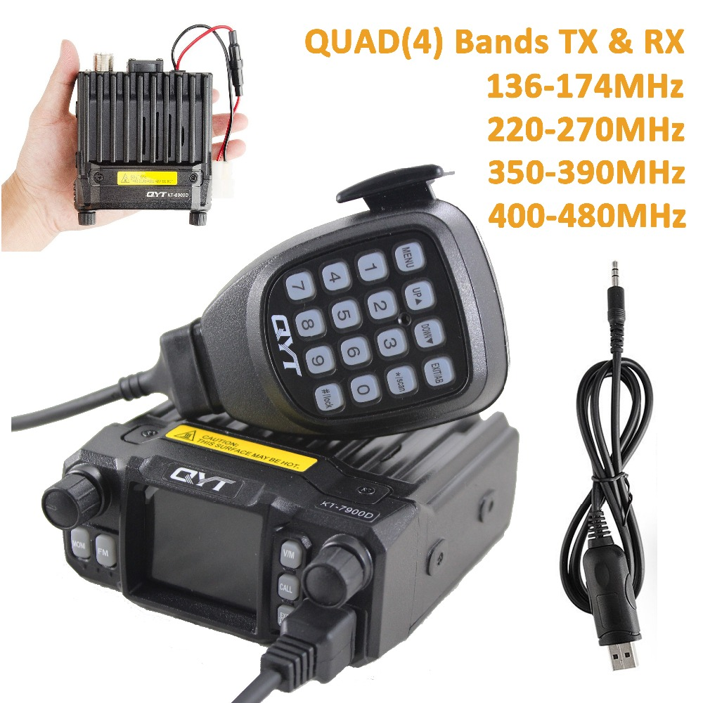 QYT KT 7900D 4 Bands Vechile Two Way Radio Station with Programming Cable UPGRADE of QYT