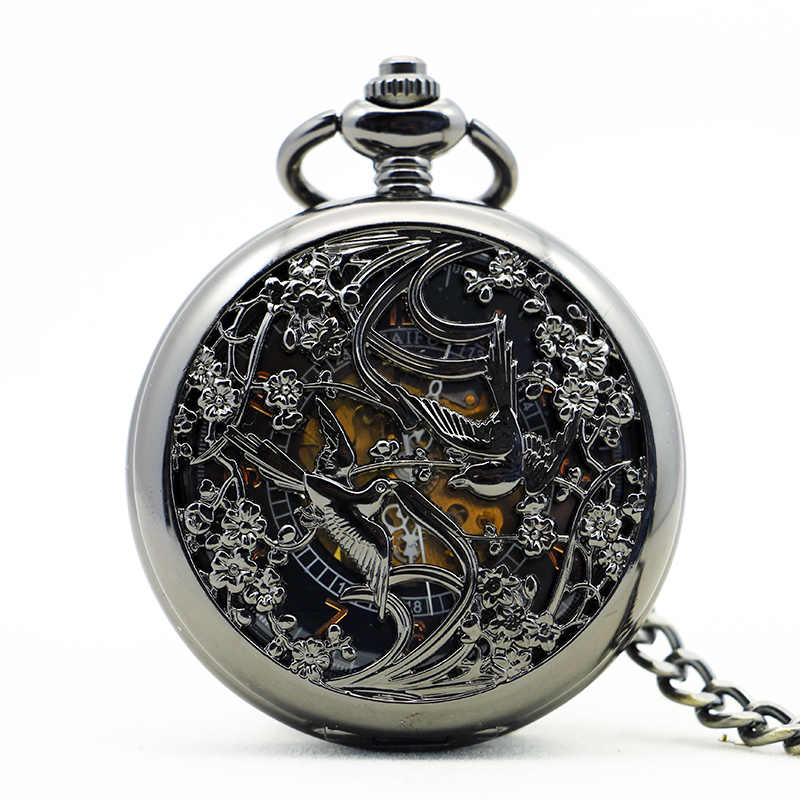 Top Silver Steel Fashion Birds Pendant Black Dial Hand Wind Mechanical Pocket Watch With Chain Watch PJX1148