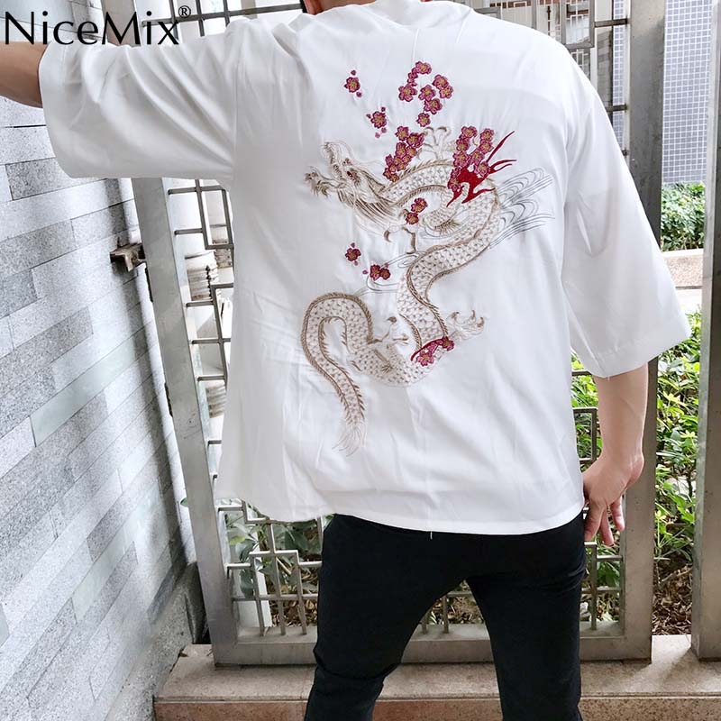 NiceMix Harajuku Japanese Kimono Cardigan Vintage Novelty Summer Cherry Dragon Embroidery Chiffon Sun Protection Women Clothing