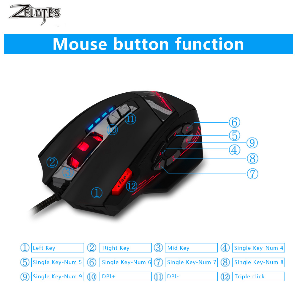 Image 4 - ZELOTES C 12 filaire USB 4000 DPI une souris de jeu optique 12  boutons programmables souris de jeu dordinateur 4 DPI réglables 7 LED  lumièresSouris