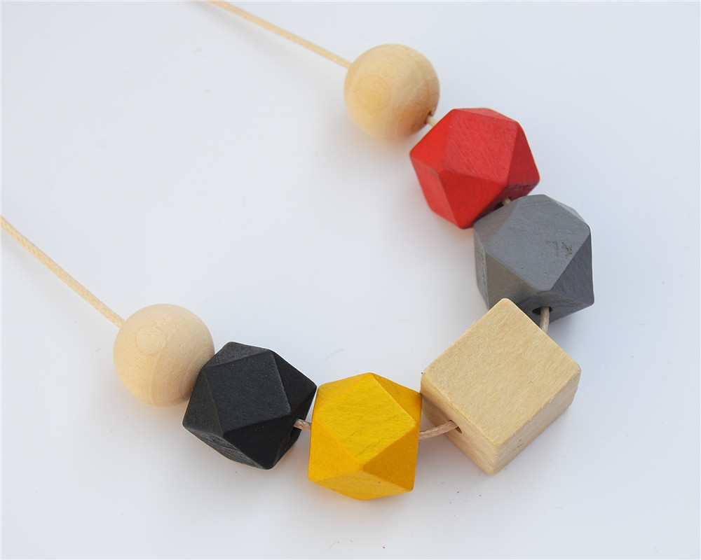 1pc Wax String Mix Color Square Round Wood Necklace Hand Painted Chunky Beads Jewellry E761