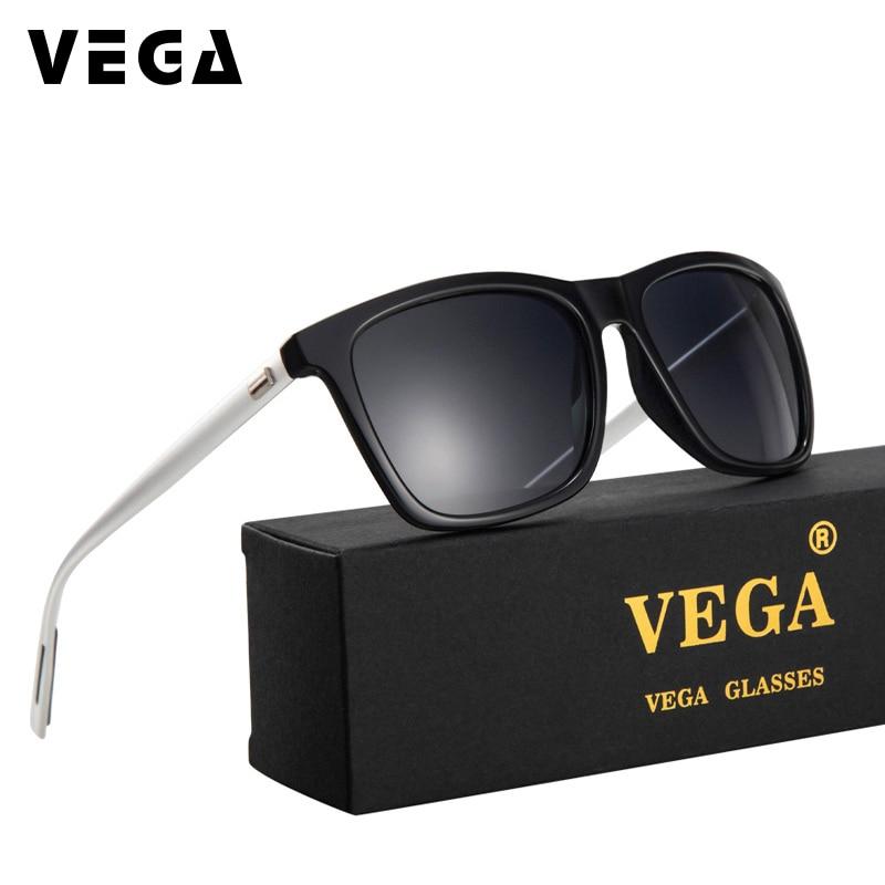 VEGA män kvinnor rektangel solglasögon polariserade plastram aluminium magnesium ben rosa silver svart blå tonade linser 387
