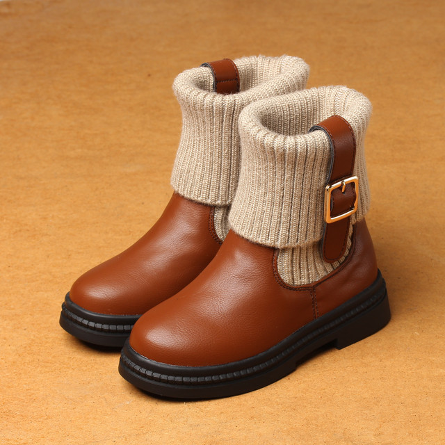 2016 Girls Shoes Red Knitting Wool Boots Autumn Winter New Princess Boots Cotton Children's Boots Warm Tide Kids Shoes