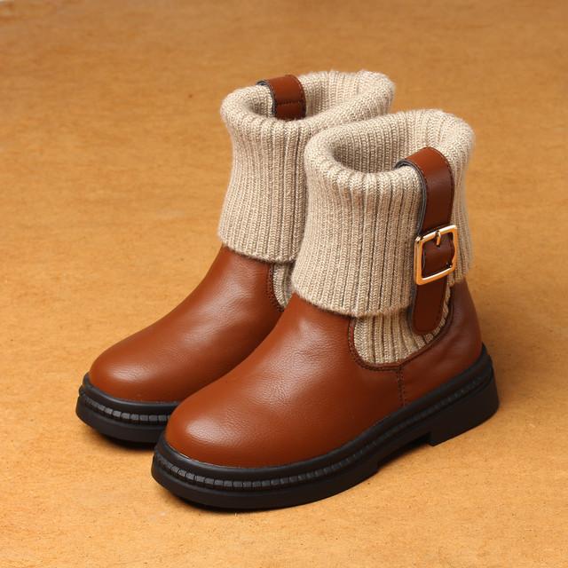2016 botas de lana de punto otoño invierno nueva princesa girls shoes rojo marea botas de algodón de los niños calientes kids shoes