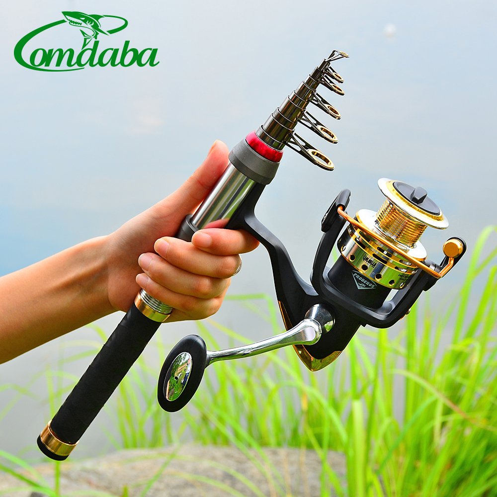 New Comdaba 8/9/10/12/14 Section 1.5M-3.6M 1PC High Carbon Telescopic Fishing Rod Metal Handle Sea Fishing Rod Set(China)