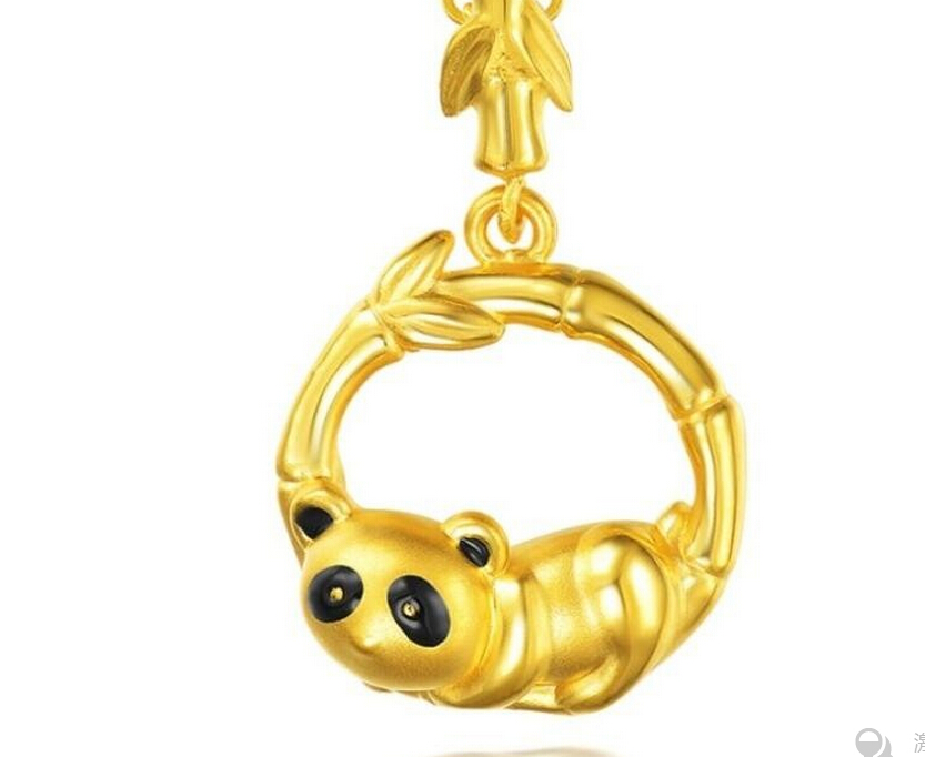 Hot Sale Pure 999 24K Yellow Gold Pendant/ 3D Lucky Panda With Bamboo Pendant 3.65G hot sale new pure 24k yellow gold pendant 3d craft lucky number 3 pendant 1 68g