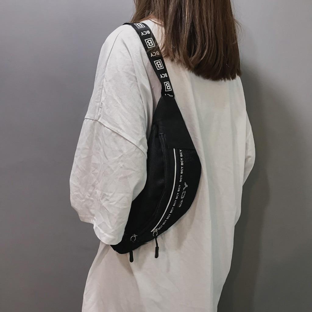 2019 Neue Mode Frauen Fanny Pack Neutral Außen Zipper Leinwand Messenger Tasche Sport Brust Tasche Taille Tasche Bolsa Feminina # By20