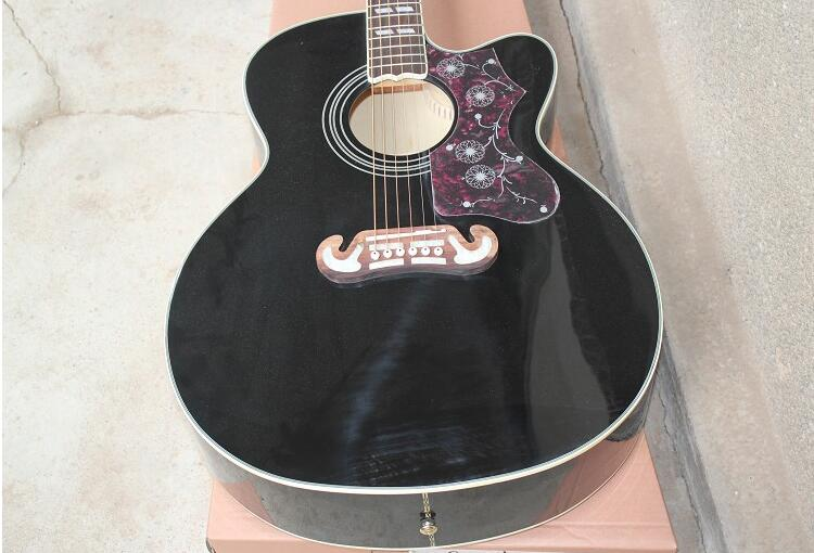 Factory price EPI EJ 200 43 inches missing Angle folk acoustic guitar Black body 0425
