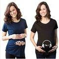 2017 Funny Maternity Shirts Dark Blue Baby Funny Letter Printed Short Sleeve Pregnant Women Tops 5 Patterns