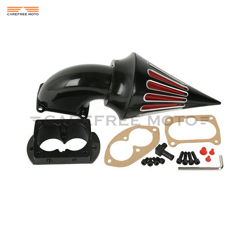 Black motorcycle spike air cleaner intake filter case for kawasaki vulcan 1500 1600 mean streak 2002