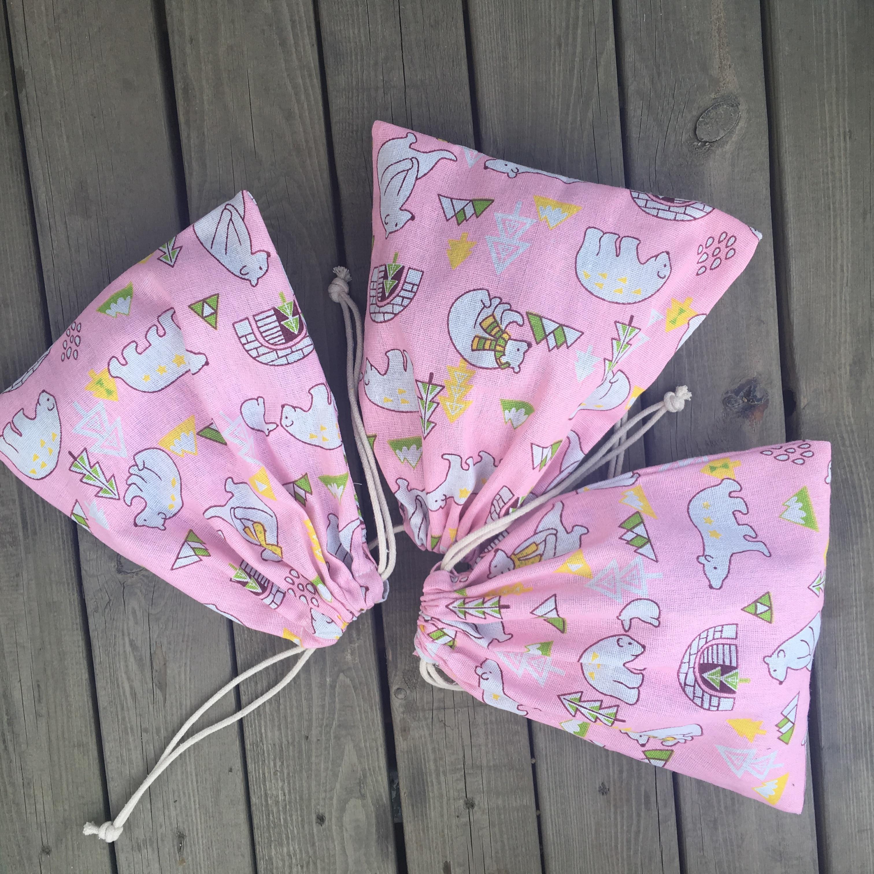 Cotton Linen Drawstring Multipurpose Bag Party Gift Bag Polar Bear Tree Pink Base YL72