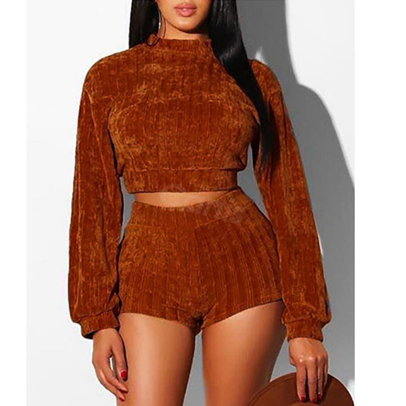 Hirigin Two Piece Stylish Women Long Sleeve Velvet Crop Top Bandage Shorts Set Outfits High Street Clothes S-XL