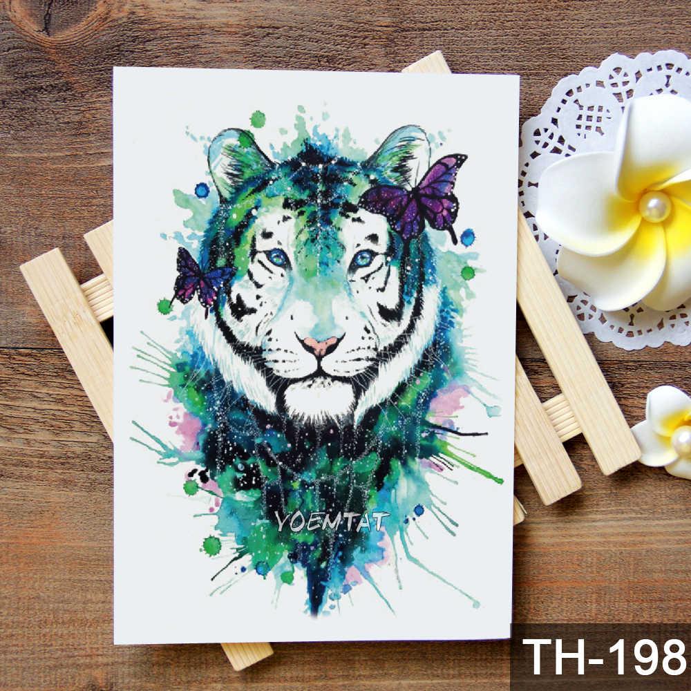 Aquarela padrão de tigre leão lobo à prova d' água Etiqueta Do Tatuagem Temporária de Transferência de Água tatuagem body art tattoo falso para mulheres dos homens
