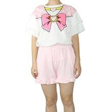 Горячие Рубашка с короткими рукавами хлопковые пижамы Брюки для девочек костюм милый мультфильм девушка воин Сейлор Мун принцесса раздел Косплэй Повседневное дома Услуги