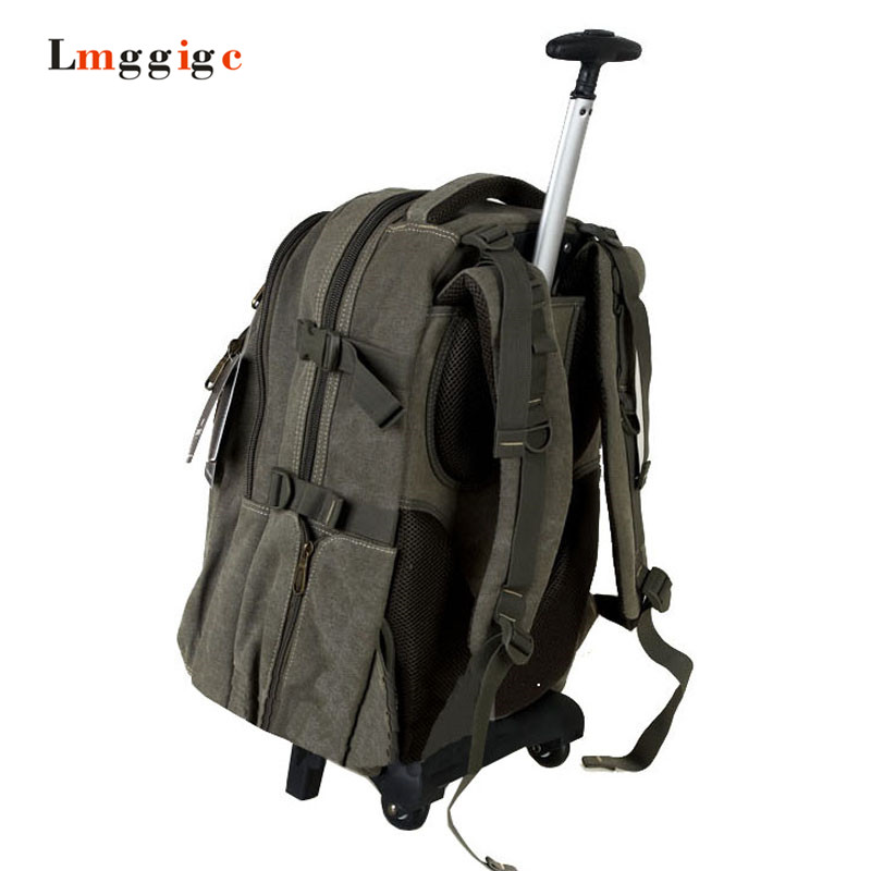 Double-shoulder Backpack with Wheels ,Canvas Luggage Travel Bag, Multifunctional Mountaineering Bag, 1822inch Trolley Suitcase universal uheels trolley travel suitcase double shoulder backpack bag with rolling multilayer school bag commercial luggage