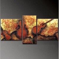 Современный абстрактный Книги по искусству Скрипки картина маслом Домашний Декор стены Книги по искусству ручная роспись акрил Картины 3 П...