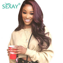 Sexay Ombre Human Hair Wig 99j Burgundy #27 Blonde Red Purple Blue Green Pre-Colored Ombre 13x4 Remy Lace Front Human Hair Wigs(China)