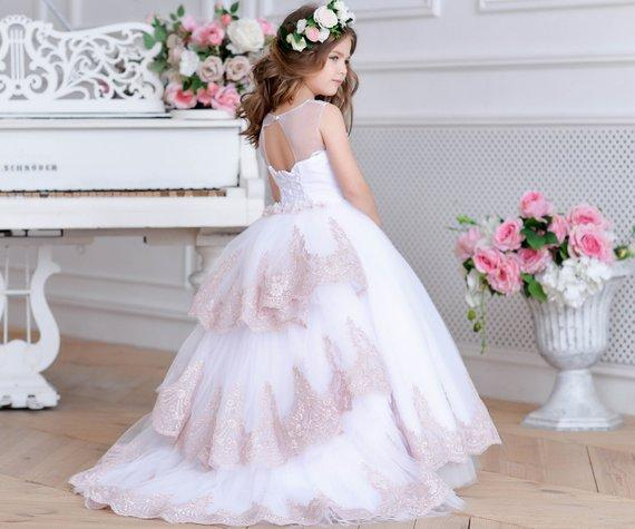 Cute Jewel White   Flower     Girl     Dress   with Train Blush Junior Bridesmaid   Dress   Lace Baby   girl   Tulle Tutu Kids   Girls   Pageant