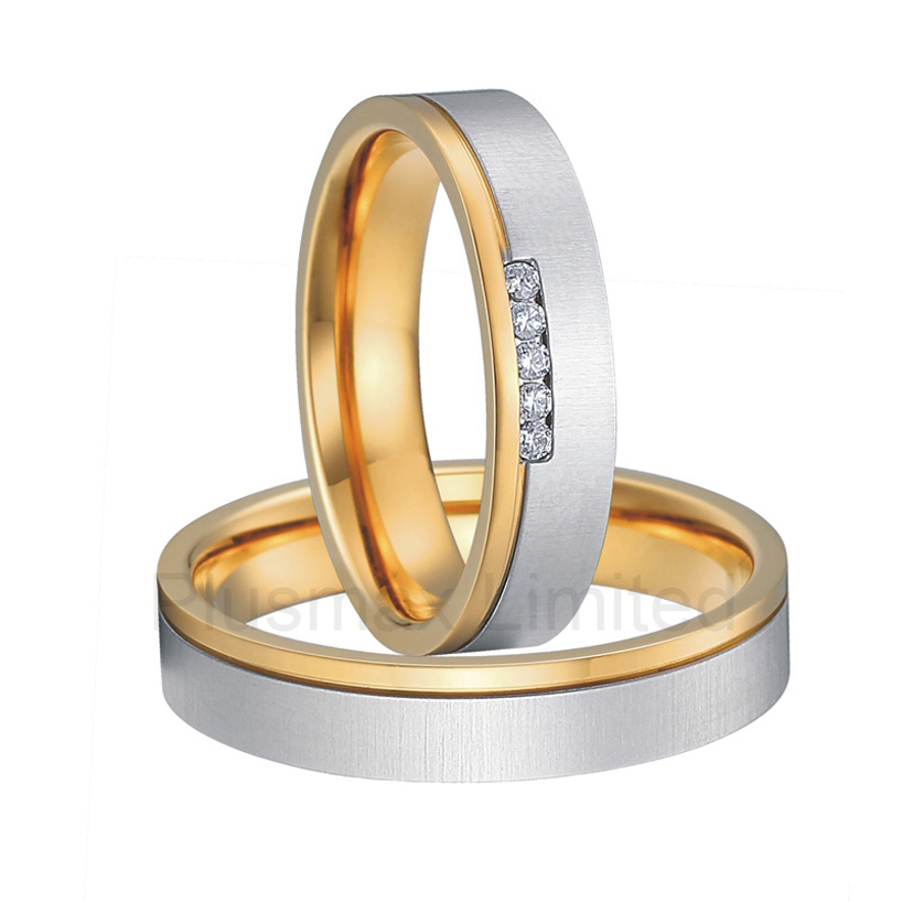 Anel de Casamento titanium no rust gold color wedding rings men and women anel de casamento cheap pure titanium satin surface gold color colorful stone cheap pure titanium promise wedding band rings