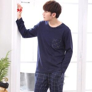 Image 4 - Yidanna long sleeve pijama cotton pajamas set for male plus size sleep clothing casual nightie sleepwear men pyjamas suit autumn