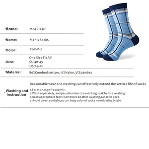Image 3 - Match Up Men Colorful Blue Style Cotton Socks Mustache and Skull Socks  (5 Pairs / lot )