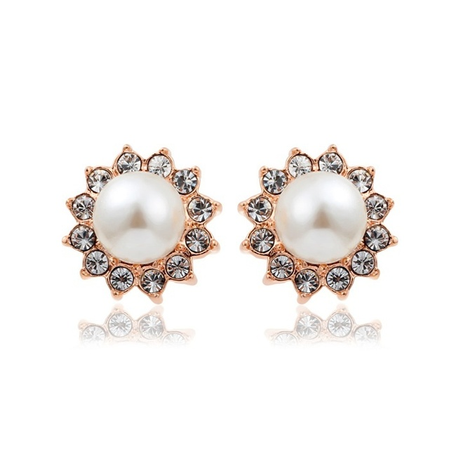 New Sunflower Design White Pearl Surrounded Crystal Children S Stud Earrings Rose Gold Plated Baby Kids