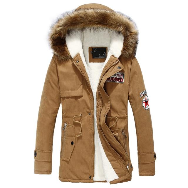 Wool Linner Men Down Jacket Army Green Winter Warm Men's Thick Warm Fur Collar Long Jackets Men Hooded Parka Men Coat