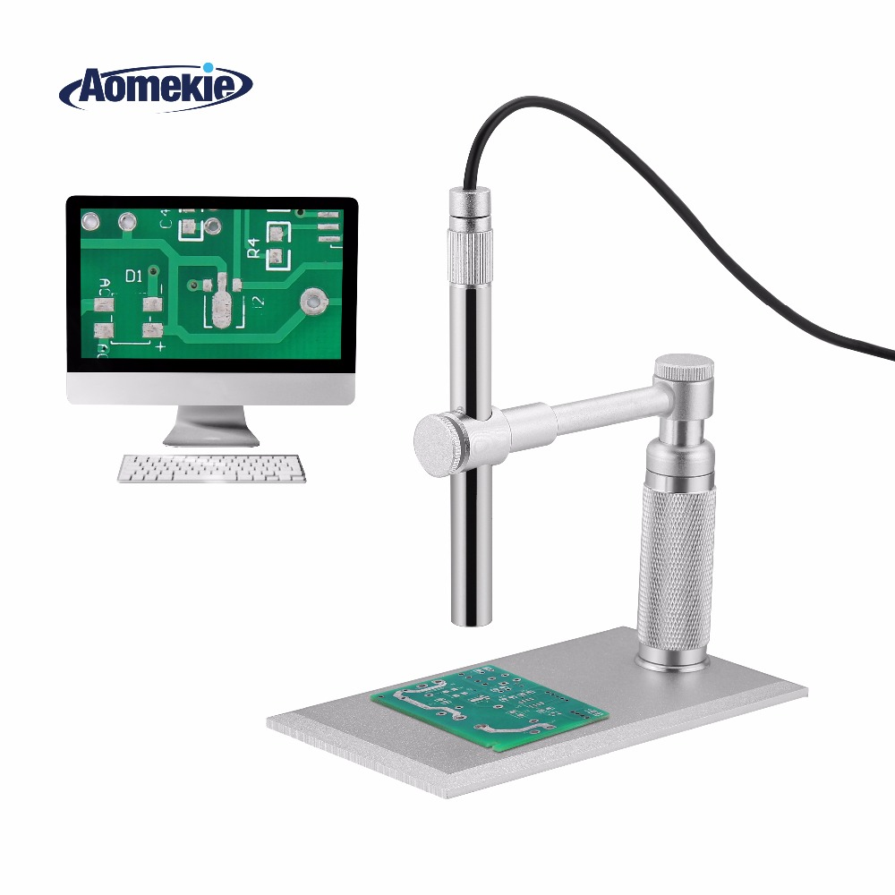 AOMEKIE 500X Digital Electronic USB Microscope 2MP HD Video Camera Stand Electron Pen Endoscope Skin Detector PCB Soldering Tool 1 500x zooming 2mp hd usb digital microscope 8 led electronic video camera electron pen endoscope magnifier for circuit repair