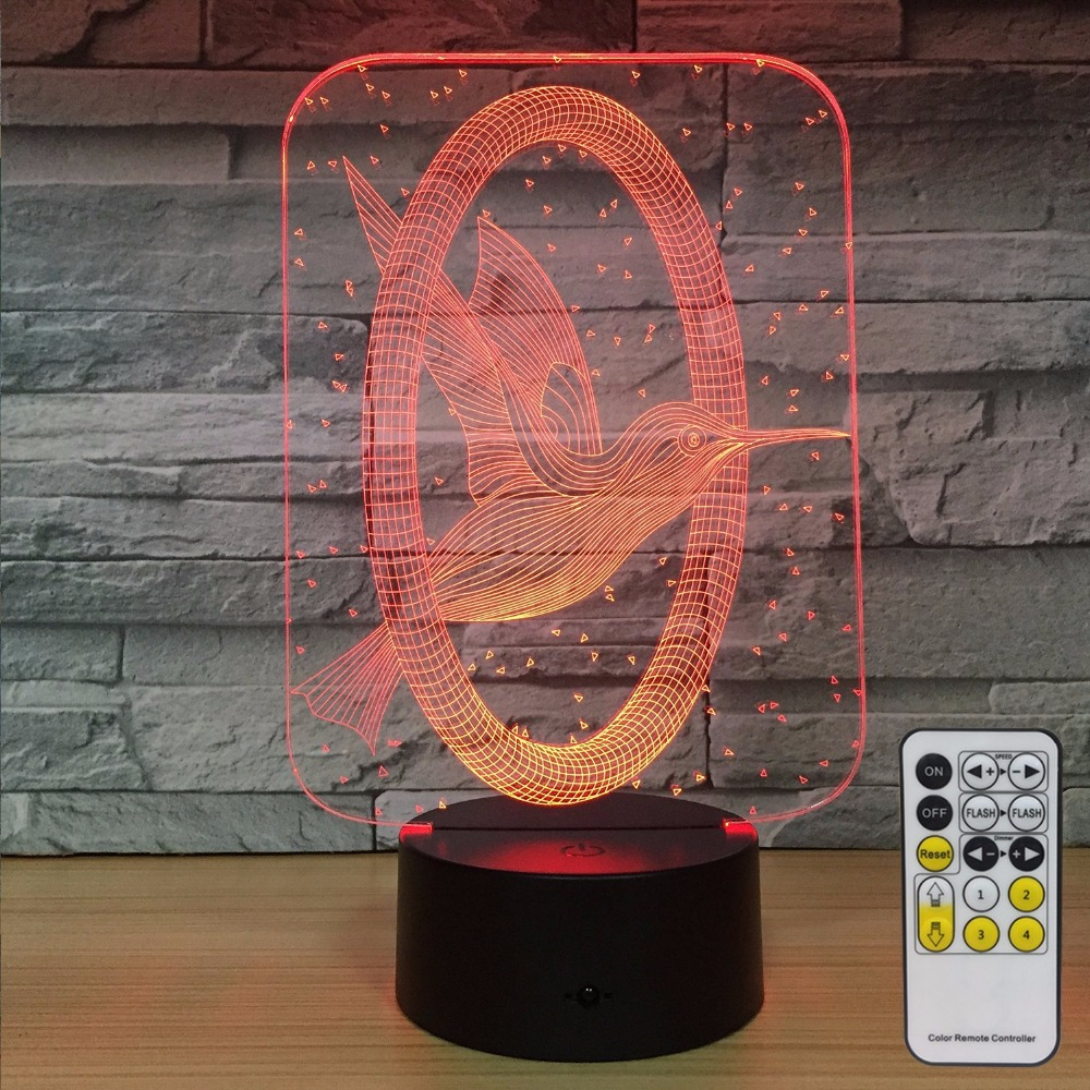 Hummingbird 3d Night Light Home Decorations 7 Colors Change with Remote Control Baby Night Light Beside Lamp Kids Lamp Drop Ship