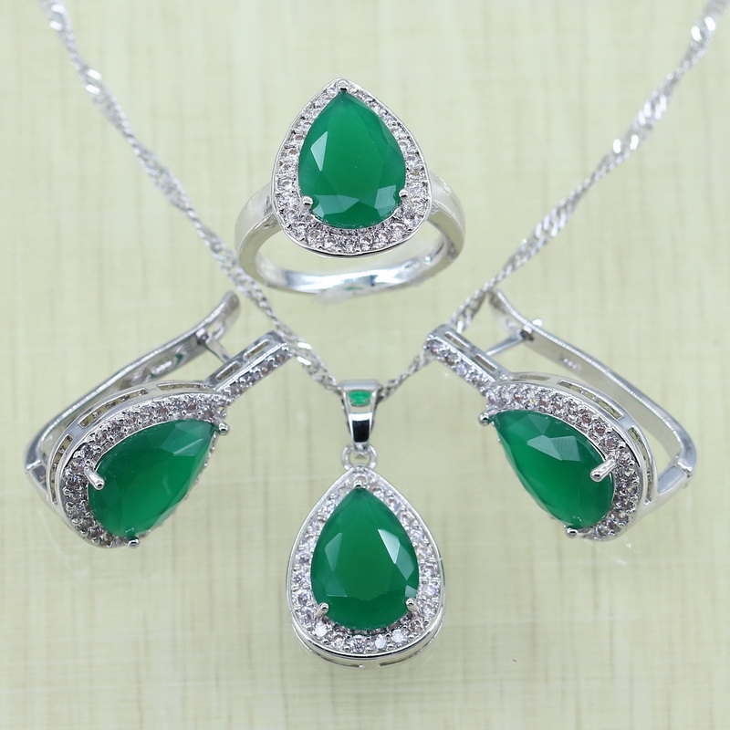 Reginababy Silver color Green created Emerald White crystal Jewelry Sets Women Wedding Hoop Earrings/Ring/Necklace/Pendant