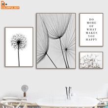 COLORFULBOY Canvas Art Print Dandelion Quotes Black White Nordic Posters And Prints Wall Pictures For Living Room