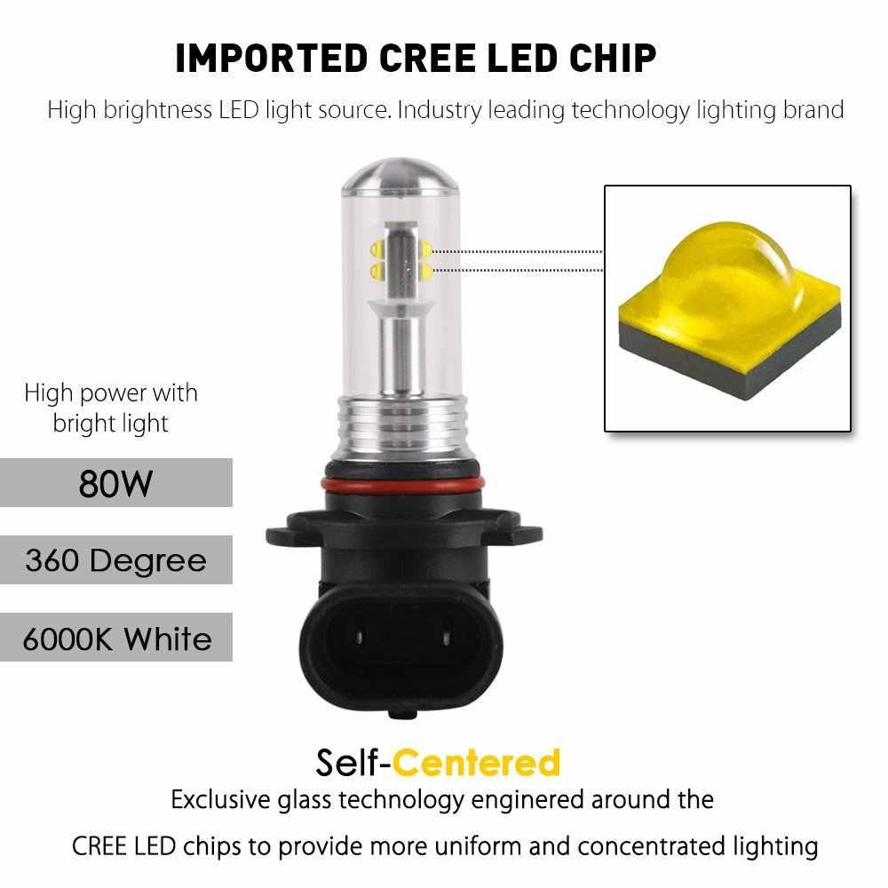 NIGHTEYE H11 LED Fog Light Bulbs H1 H3 H7 9005 9006 H8 H9 HB3 HB4 Car Fog Lamp 160W 1500LM 6000K Auto Driving Lights CREE Chip